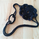 Crochet Black Cotton Posy Flower Headband Fascinator