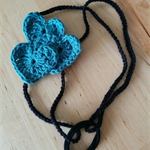 Crochet Black Denim Blue Cotton Triple Heart Headband Fascinator