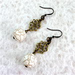 White Howlite Beaded Earrings with Bronze Filagree and Bronze Earring Hooks
