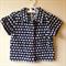 Size 2 navy, blue & white elephant collared short sleeved cotton shirt