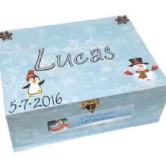 Winter Wonderland Time Capsule Keepsake Trinket Treasure Memory Wooden Baby Box