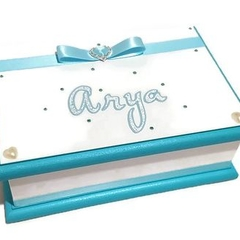 Aqua & White Keepsake Trinket Treasure Jewellery Memory Wooden Box