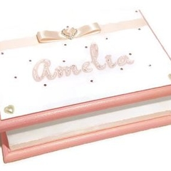 Pink & White Keepsake Trinket Treasure Jewellery  Memory Wooden Box