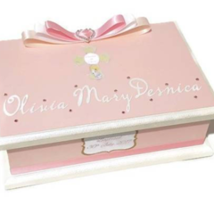 Girl's Baptism/Christening Keepsake Memory Treasure Trinket Wooden Box