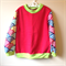 Size 3 Red fleece jumper rainbow sleeves
