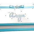 Aqua & White Keepsake Trinket Treasure Jewellery Memory Wooden Box