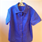 Boys large - White spotted bright blue collared short sleeve shirt