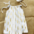 Size 2 girls white and gold feather ribbon dress
