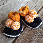Yellow Pom Pom knitted baby booties