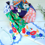 Blue green scarf, red flower scarf, blue red scarf, blue white scarf, upcycled