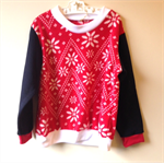 Size 3 Nordic red and white print fleece jumper black sleeves