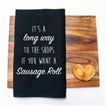 LONG WAY TO THE SHOPS Linen Tea Towel in Black