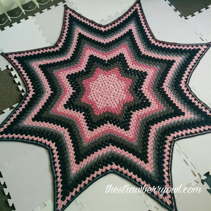 Custom Made Crochet Granny Stitch 8 Point Star Throw Blanket The