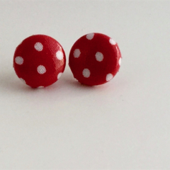15mm Fabric Button Earrings - With a twist