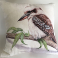 Cushion Cover with Kookaburra Australian wildlife print on Linen 40cm square
