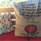 Recycled Origin Coffee  Beach/Overnight Burlap/Hessian Tote Bag - Rainbow Drops