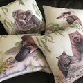 Cushion Cover with Platypus and Frog Australian wildlife print on Linen 40cm