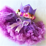 Baby Girls Pretty Purple First Birthday Flower Crown & Pettiskirt