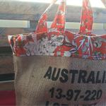 Recycled Coffee Burlap Burlap Bag.  Grocery/Shopping Tote - Forrest Friends