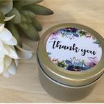 THANK YOU CANDLES | Soy Wax | Petite 2oz Tin | Gold or Silver