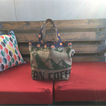 Recycled Coffee Burlap Grocery/Shopping Tote/Bag - Blue Foxes