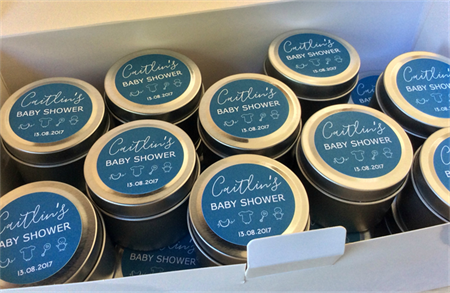 BABY SHOWER FAVOURS | Soy Candles | Soy Xax | Petite 2oz Tins | Gold or Silver