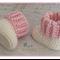 Cream & Pink Crochet Newborn Baby Booties Shoes Socks
