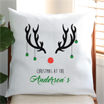 Personalised Christmas Reindeer Cushion Cover in Off-White Linen