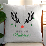 Personalised Christmas Reindeer Cushion Cover in Oatmeal Linen
