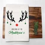 Personalised Christmas Reindeer Tea Towel in Off White Linen