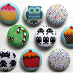Fabric covered button brooches