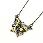 Steampunk Butterfly Pendant on bronze chain