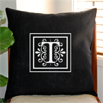 Personalised Monogram Cushion Cover in Black Linen