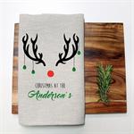 Personalised Christmas Reindeer Tea Towel in Oatmeal Linen