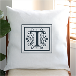 Personalised Monogram Cushion Cover in Off White Linen