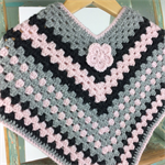 Pure Wool Crochet Poncho |  1 - 2 Years | Girl | Hand Crocheted | Ready to Post