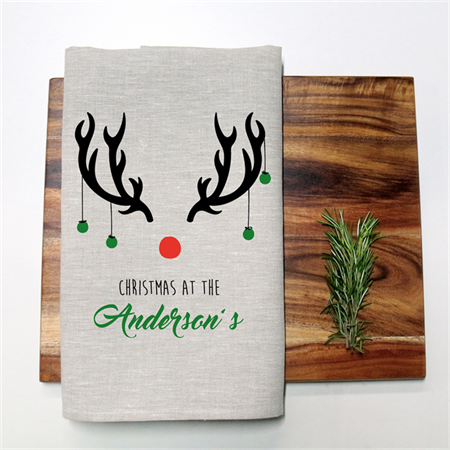 Personalised Christmas Reindeer Tea Towel in Oatmeal Linen