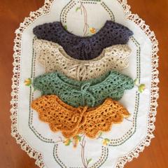 Crocheted collar, removeable crocheted cotton collar bib