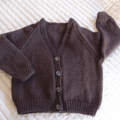 SIZE 3-4 :Hand knitted cardigan dark brown: boy, washable