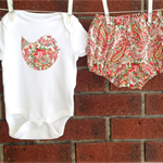 Baby girl paisley outfit with bodysuit and diaper cover