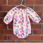 Rainbow colour romper for baby girl, short or long sleeves