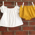 Gold and mustard baby girl outfit with peasant top and diaper cover