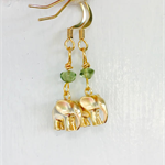 Peridot Matt Gold Vermeil Elephant Earrings