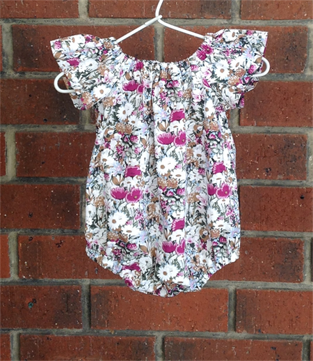 Purple floral baby girl play suit bubble romper with snaps