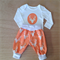 PEACH BABY CLOTHES, 2 piece set in Art Gallery fabric, various sizes