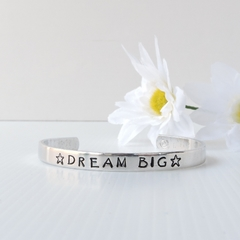 RESINATING WORDS - cuff bangle hand stamped - dream big