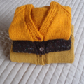 SIZE 2 :Hand knitted cardigan with matching beanie: boy, washable