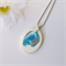 OCEAN SWIRLS - stunning turquoise aqua and silver original pendant necklace