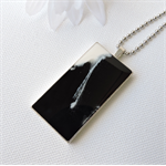 MONOCHROME LOVE - black and white original resin art pendant necklace