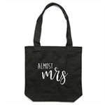 ALMOST MRS Tote Bag in Black